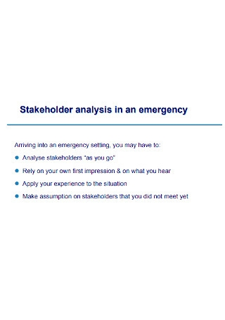 Emergency Stakeholder Analysis