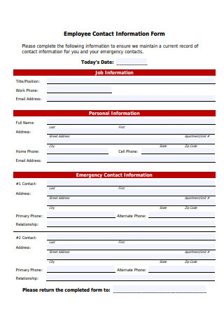Employee Contact Information Form