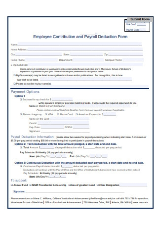 Employee Contribution and Payroll Deduction Form