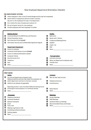 Employee Department Orientation Checklist