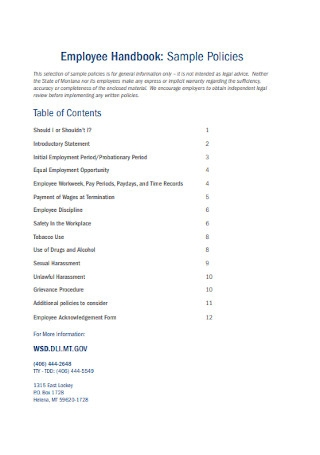 Employee Handbook Policies
