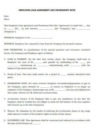 Employee Loan Agreement and Promissory Note
