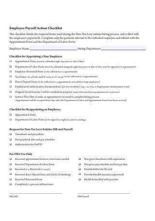 Employee Payroll Action Checklist