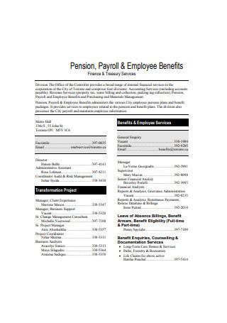 Employee Payroll Benefits