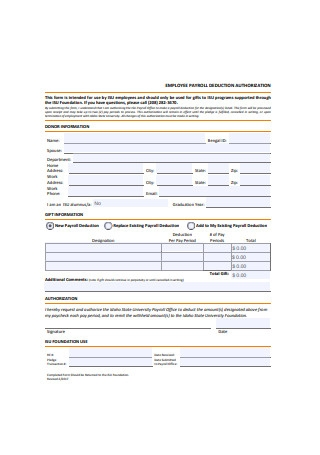 Employee Payroll Deduction Authorization Form Sample1