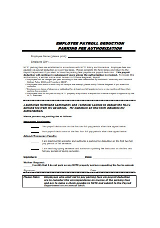 Employee Payroll Deduction Authorization Format