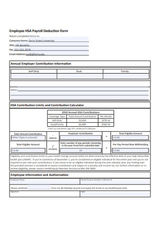 Employee Payroll Deduction Form Example