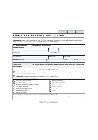 Employee Payroll Deduction Form Example1