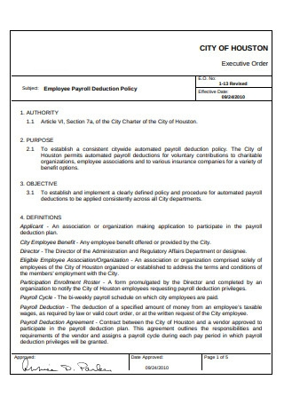 Employee Payroll Deduction Policy