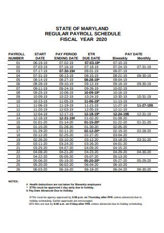 Employee Regular Payroll Schedule