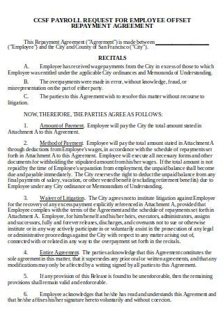 Employee Repayment Agreement Format
