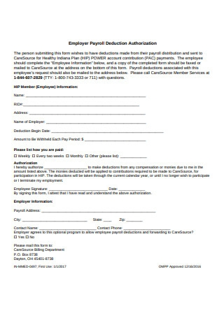 Employer Payroll Deduction Authorization Form