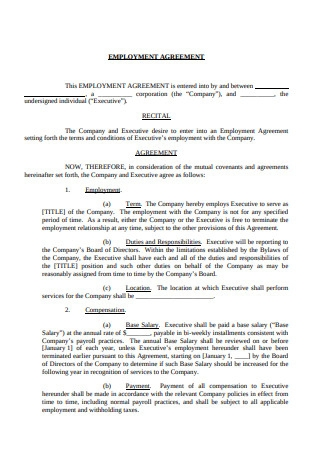 Employment Agreement Pro Employee