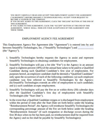 Employment Fee Agency Agreement