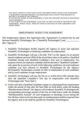 Employment Fee Agency Agreement