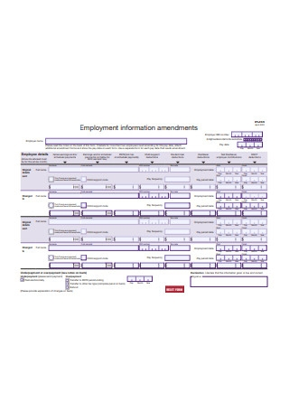 Employment Information Amendment Form