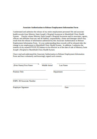 Employment Information Release Form