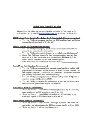 End of Year Payroll Checklist Format