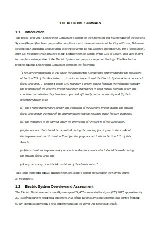 Engineering Consultant's Report