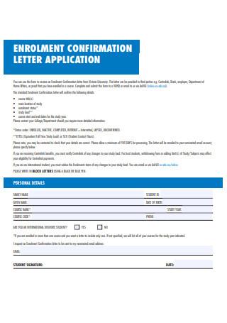 Enrollment Confirmation Letter Application Form