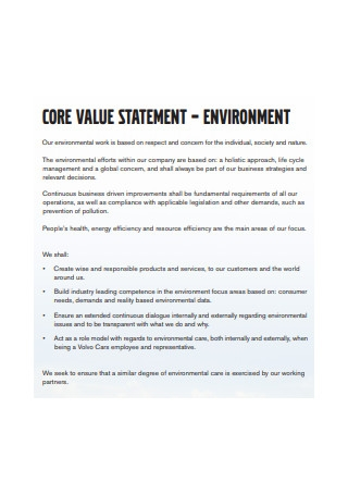 Environment Core Values Statement