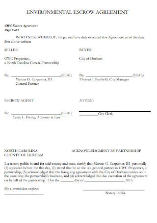 Environmental Escrow Agreement