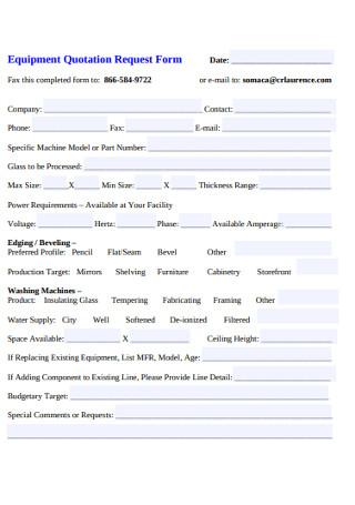 Equipment Quotation Request Form