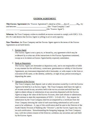 Escrow Agent and Company Agreement