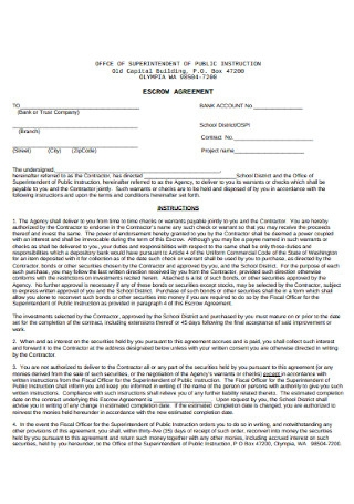 Escrow Agreement Example