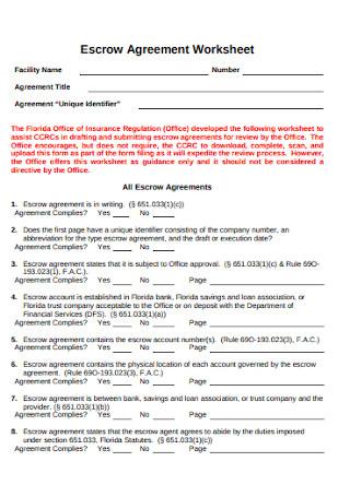 Escrow Agreement Worksheet