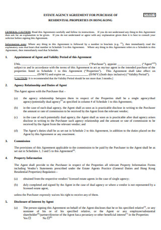 Estate Agency Agreement for Purchase