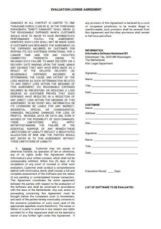 Evaluation License Agreement