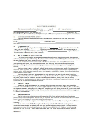 Event Artist Agreement