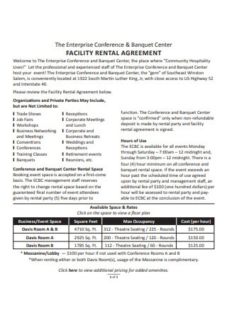 Event Center Facility Rental Agreement