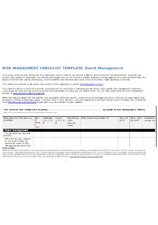 Event Management Checklist