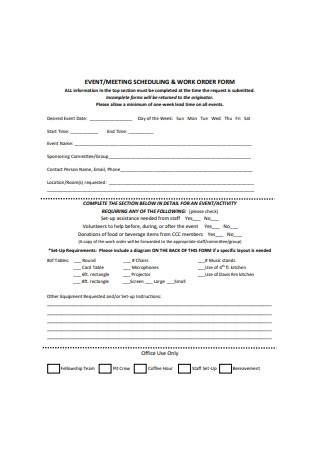 Event Work Order Form Example