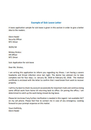 Example of Sick Leave Letter