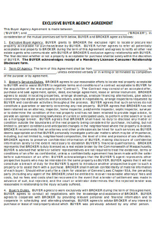 Exclusive Buyer Agency Agreement