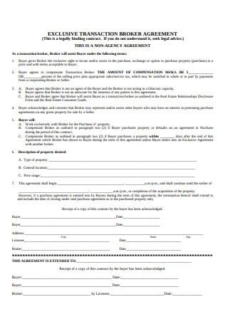 Exclusive Transaction Broker Agreement
