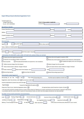 Export Bill Purchase Collection Form