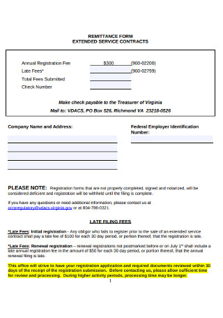Extended Service Contract Form