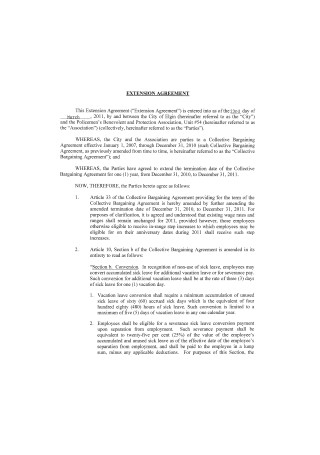 Extension Agreement Sample