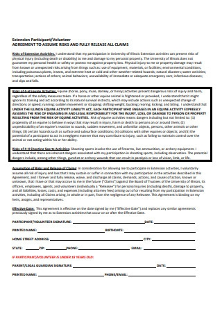 Extension Participant volunteer Agreement