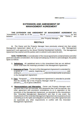Extension and Amendment of Management Agreement