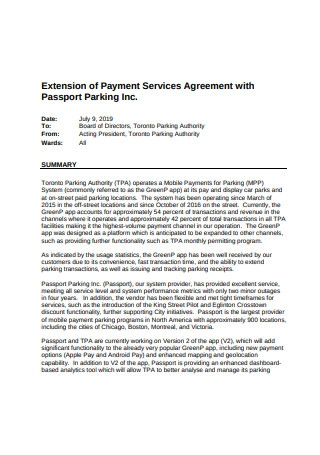 Extension of Payment Services Agreement
