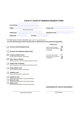 Faculty Leave of Absence Request Form