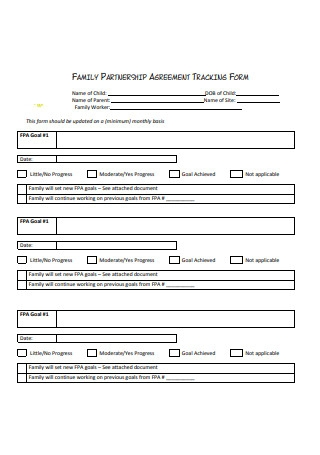 Family Partnership Agreement Tracking Form
