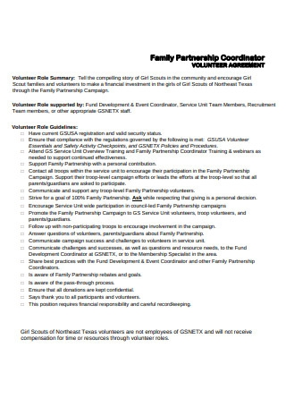 Family Partnership Coordinator Volunteer Agreement