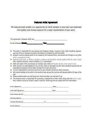 Featured Artist Agreement Sample