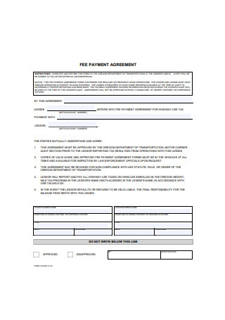 Fee Payment Agreement Form